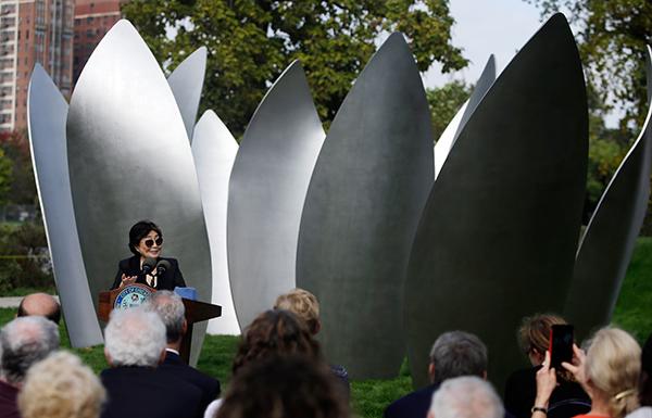 Skylanding — перша постійна скульптура Йоко Оно у США