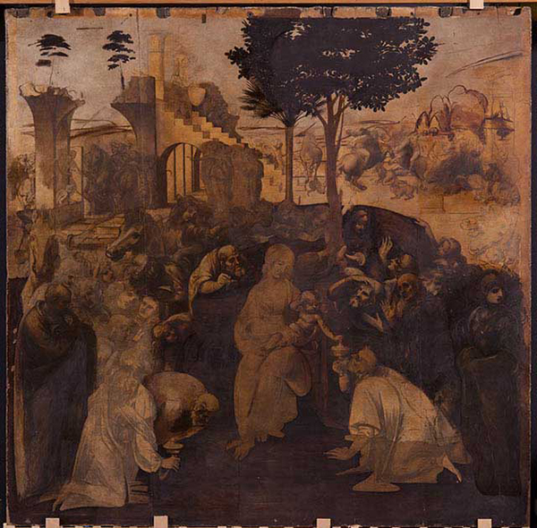 В основі «Поклоніння волхвів» лежить відомий біблійний сюжет народження  Ісуса Христа d41d9f6db90f3